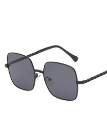 Black Frame Black Gray Piece Big Box Square Metal Chain Sunglasses