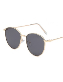 Gold Frame Black Gray Piece Round Small Frame Metal Ocean Piece Sunglasses