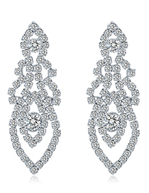 White K Alloy Diamond Stud Earrings