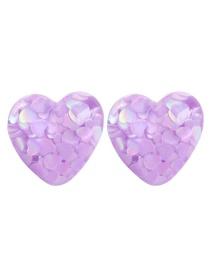 Fashion Purple Resin Love Earrings