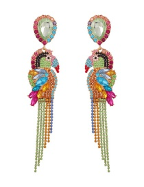 Fashion Gold Color Drill Alloy Diamond-studded Bird Tassel Earrings
