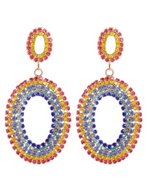 Fashion Golden Oval Alloy Studded Geometric Earrings