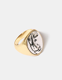 Fashion Gold Metal Face Ring