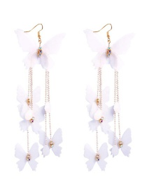 Fashion Gold Alloy Butterfly Tassel Earrings