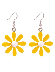Fashion Yellow Alloy Resin Flower Earrings