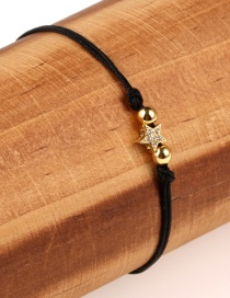 Fashion Star Black Plated Gold And Diamond Braided Hand Rope