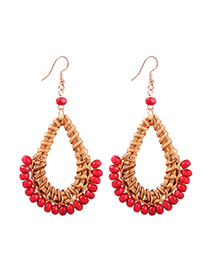 Fashion Big Red Alloy Rattan Resin Beads Earrings