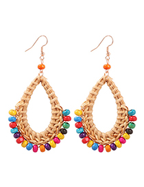 Fashion Color Alloy Rattan Resin Beads Earrings