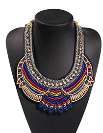 Fashion Color Alloy Rice Beads Embroidery Necklace