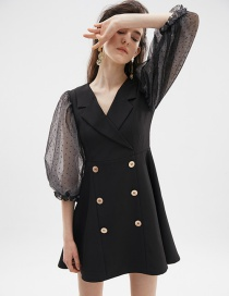 Fashion Black Mesh Gauze Puff Sleeve Suit Dress