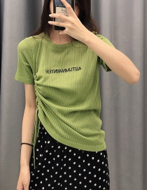 Fashion Green Embroidered Drawstring T-shirt