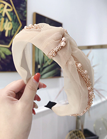 Fashion Beige Lace Mesh Yarn Pearl Knotted Wide-brimmed Headband