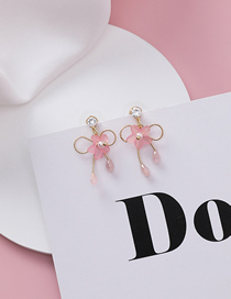 Fashion Pink S925 Silver Needle Star Flower With Diamond Bow Earrings