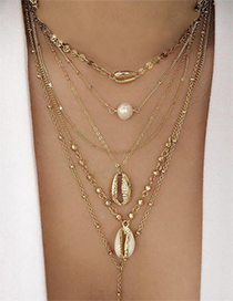 Fashion Gold Alloy Shell Pearl Sequin Multilayer Necklace