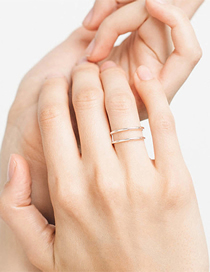 Fashion Gold Double-layer Open Stainless Steel Ring