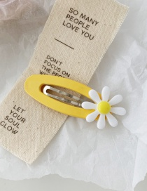 Fashion Yellow Bb Clip Contrast Flower Hair Clip