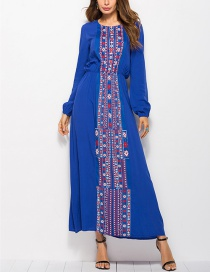 Fashion Blue Printed Waist Dress