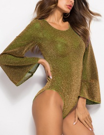Fashion Gold Flared Sleeves And Silk Jumpsuit