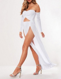 Fashion White Wrapped Chest And Navel Fake Two-piece Split Dress