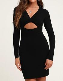 Fashion Black Stretch Openwork Cross Dress