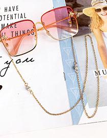 Fashion Gold Alloy Pearl Diamond Glasses Chain
