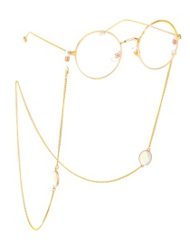 Fashion Gold Real Gold Plating Chain Stainless Steel Opal Oval Anti-skid Glasses Chain
