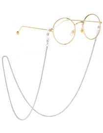 Fashion Silver Non-slip Hollow Chain Metal Glasses L Chain Lengthening Bold 2.4mm