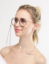 Fashion Silver Hollow Chain Hanging Neck Pearl Glasses Chain