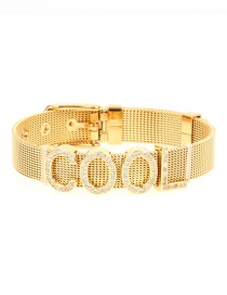 Fashion Gold Titanium Steel Plated Real Gold Mesh Strap Zircon Bracelet