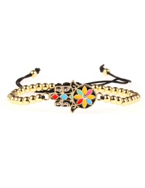 Fashion Gold Drip Oil Plating Gold Micro-encrusted Color Protection Palm Beaded Bracelet