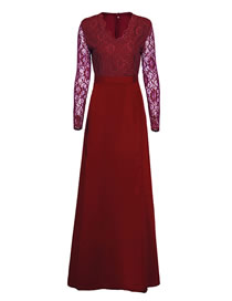 Fashion Red Solid Color Lace Dress