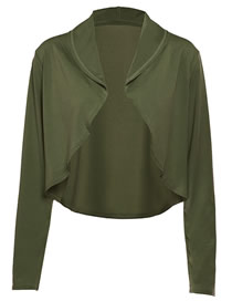 Fashion Armygreen Solid Color Lapel Cut-off Cardigan