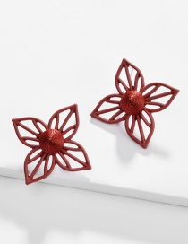 Fashion Red Alloy Hollow Flower Color Tangled Woven Spray Ear Studs