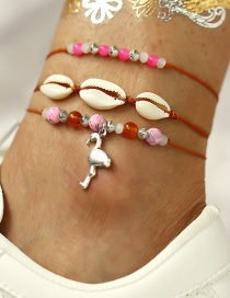 Fashion Color Shell Flamingo Beaded Anklet Three Piece Set