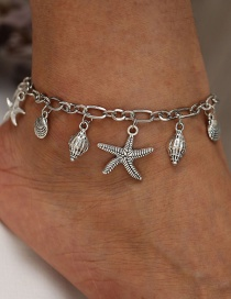 Fashion Silver Glossy Ocean Starfish Conch Anklet