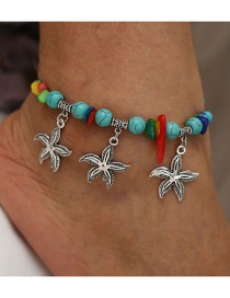 Fashion Silver Turquoise Starfish Anklet
