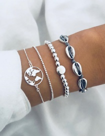Fashion Silver Shell Chain Map Size Bead Chain Bracelet Four-piece