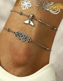 Fashion Silver Patterned Fishtail Anklet 2 Piece Set