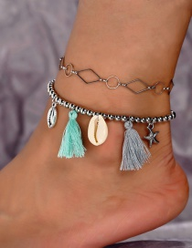 Fashion Silver Geometric Metal Shell Starfish Tassel Anklet 2 Piece Set