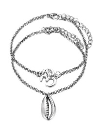 Fashion Silver Shell Anklet Set 2 Piece Set