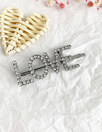 Fashion Silver Alloy Diamond Letter Love Word Hairpin
