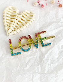 Fashion Color Alloy Diamond Letter Love Word Hairpin