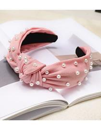Fashion Pink Nail Pearl Knotted Fabric Headband