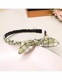 Fashion Light Green Houndstooth Fabric Woven Twist Bow Headband