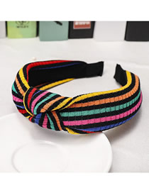 Fashion Black Striped Colorblock Knotted Wide-brimmed Headband