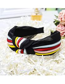 Fashion Black Rainbow Stripe Wide-neck Knotted Mesh Headband