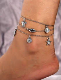 Fashion Silver Metal Shell Starfish Turtle Multi-layered Anklet