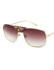 Fashion Golden Frame Double Tea Leather Sunglasses