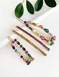 Fashion Color Alloy Diamond Color Hair Clip Set