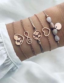Fashion Gold Alloy Resin Earth Love Bracelet Set